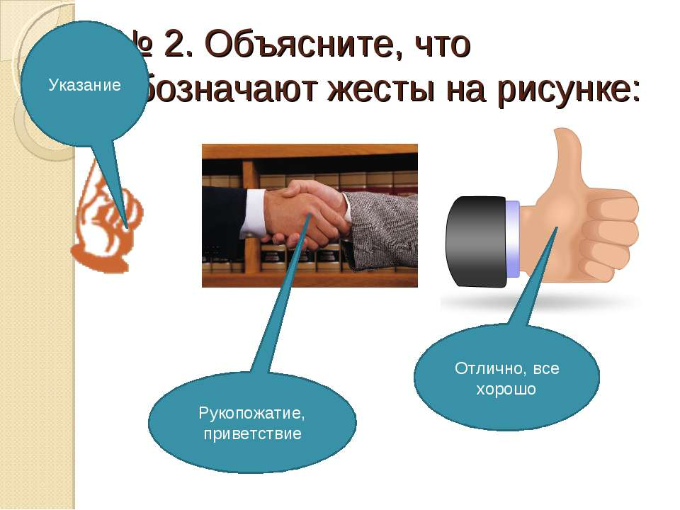 № 2. Объясните, что обозначают жесты на рисунке: Указание Рукопожатие, привет...