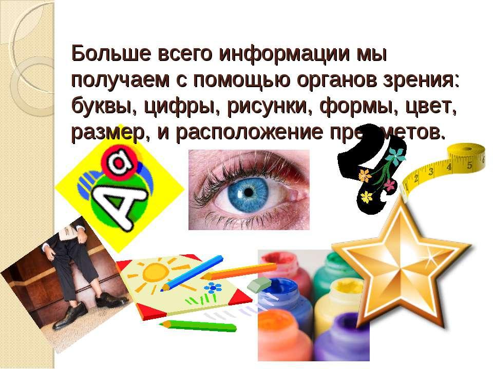 Больше всего информации мы получаем с помощью органов зрения: буквы, цифры, р...