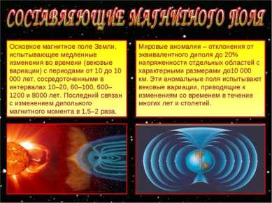 Основное магнитное поле Земли, испытывающее медленные изменения во времени (в...