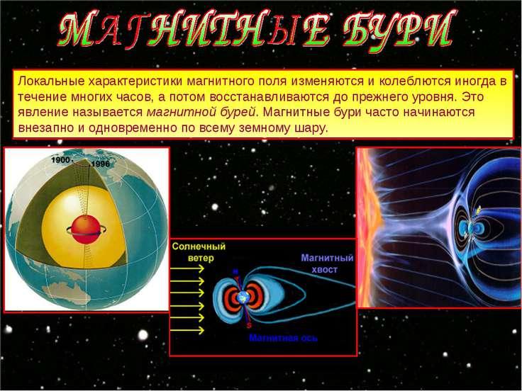 Локальные характеристики магнитного поля изменяются и колеблются иногда в теч...