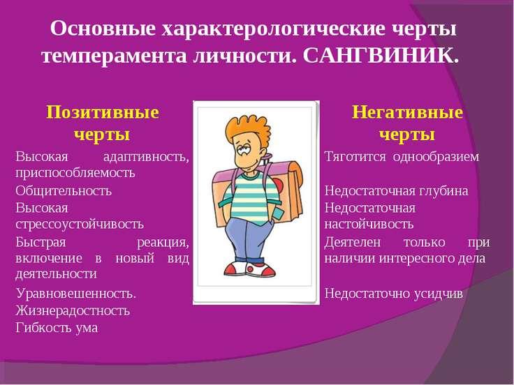 Основные характерологические черты темперамента личности. САНГВИНИК. Позитивн...