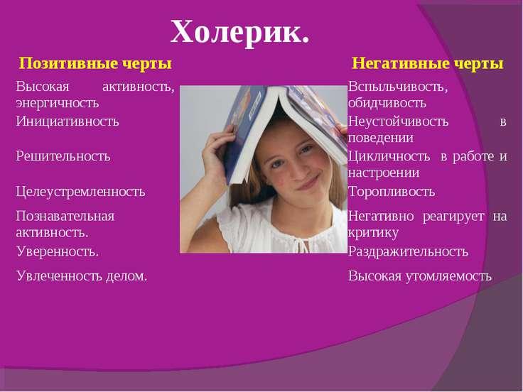 Холерик. Позитивные черты Негативные черты Высокая активность, энергичность В...