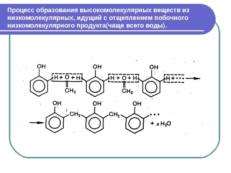 Процесс образования высокомолекулярных веществ из низкомолекулярных, идущий с...
