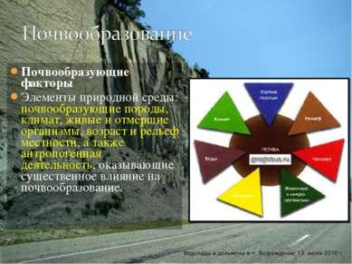 Почвообразующие факторы Элементы природной среды: почвообразующие породы, кли...