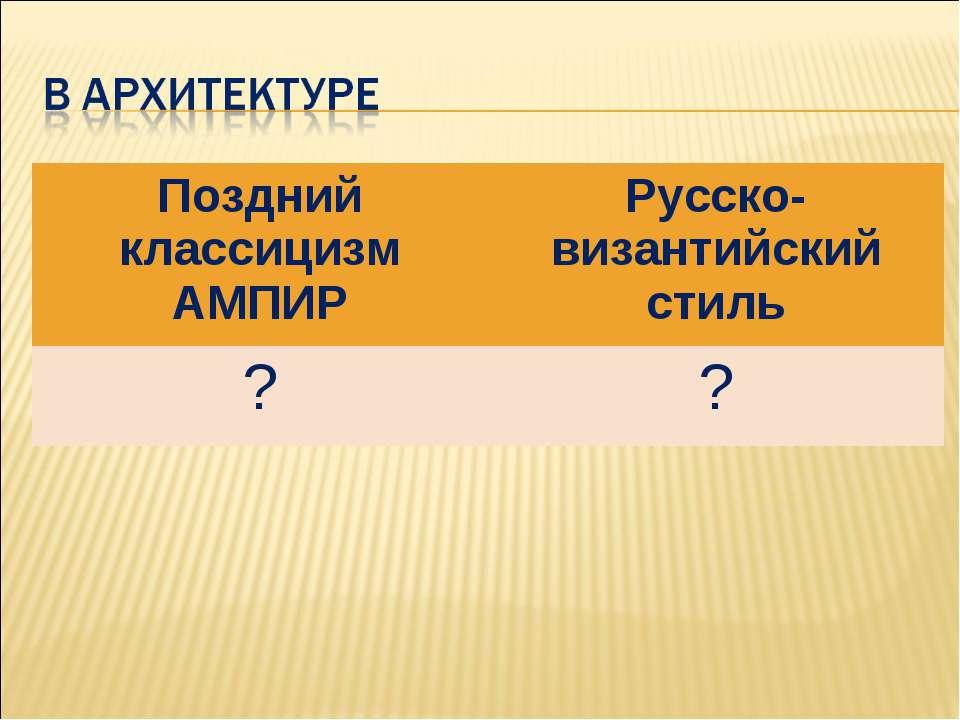 Поздний классицизм АМПИР Русско-византийский стиль ? ?