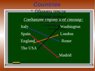 Countries Соедините страну и её столицу: Italy Washington Spain London Englan...