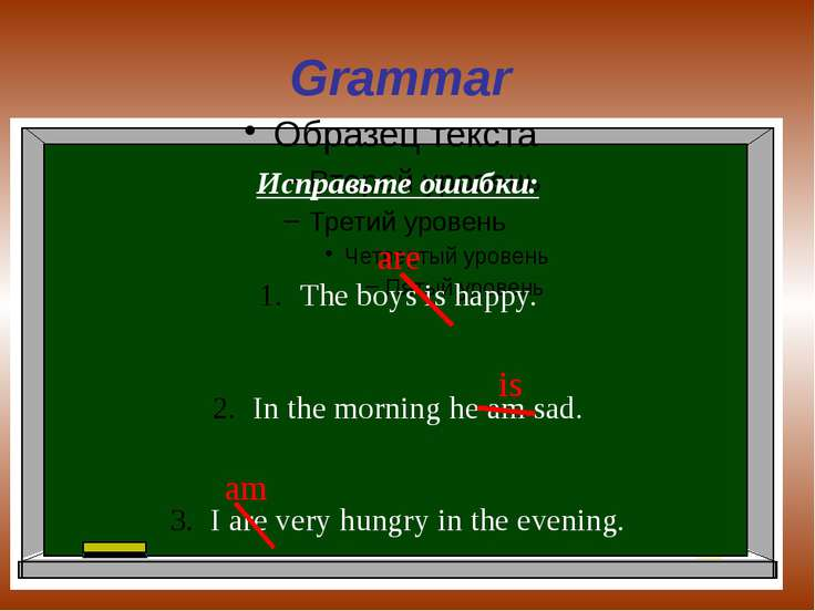 Grammar Исправьте ошибки: The boys is happy. In the morning he am sad. I are ...