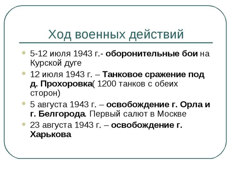 Ход военных действий 5-12 июля 1943 г.- оборонительные бои на Курской дуге 12...