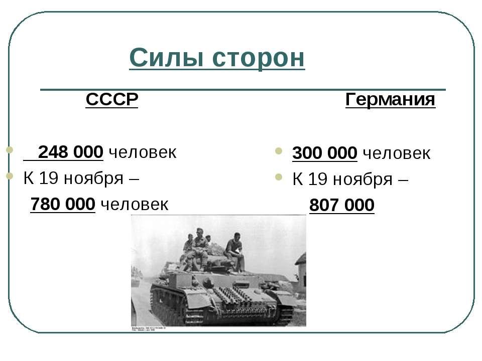 Силы сторон СССР 248 000 человек К 19 ноября – 780 000 человек Германия 300 0...