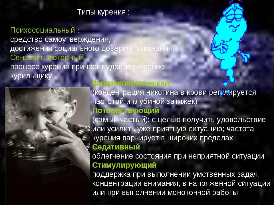 Типы курения : Психосоциальный : средство самоутверждения, достижения социаль...