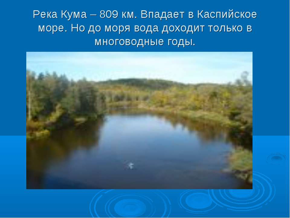 Река Кума – 809 км. Впадает в Каспийское море. Но до моря вода доходит только...