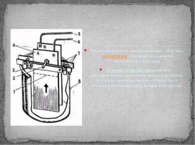 Жидкостный реостат, представляющий собой бак сэлектролитом, в который погруж...