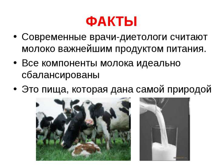 ФАКТЫ Современные врачи-диетологи считают молоко важнейшим продуктом питания....