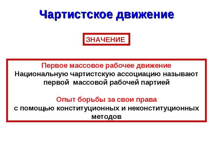 Чартистское движение ЗНАЧЕНИЕ Первое массовое рабочее движение Национальную ч...