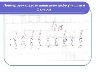 Пример зеркального написания цифр учащимся 1 класса