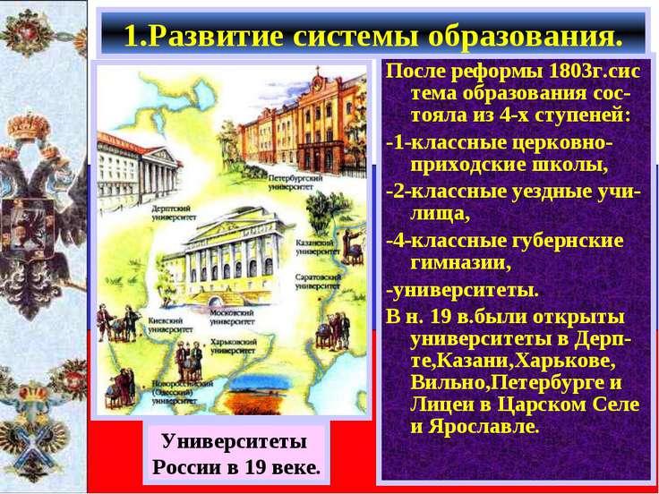 После реформы 1803г.сис тема образования сос-тояла из 4-х ступеней: -1-классн...