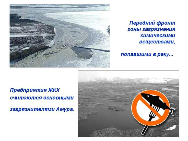 Передний фронт зоны загрязнения химическими веществами, попавшими в реку... П...