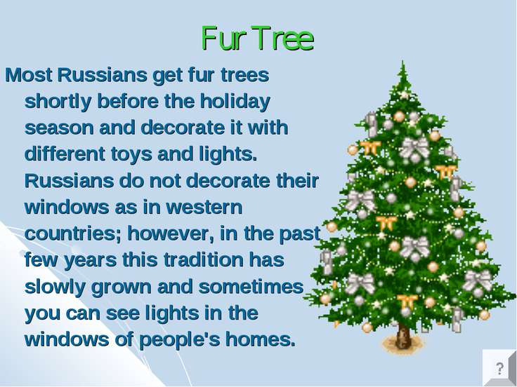 Fur Tree Most Russians get fur trees shortly before the holiday season and de...