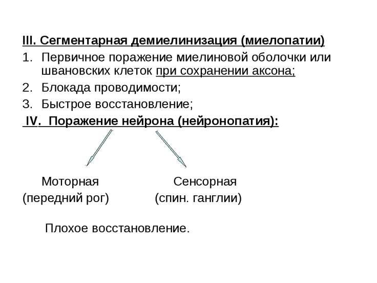 III. Сегментарная демиелинизация (миелопатии) Первичное поражение миелиновой ...