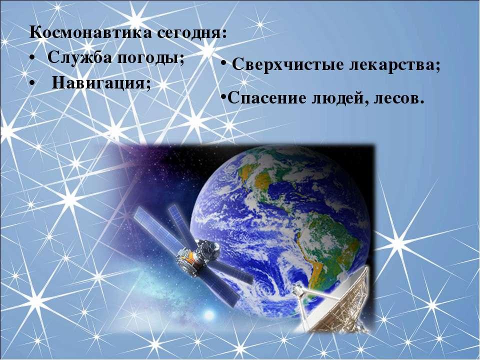 Космонавтика сегодня: Служба погоды; Навигация; Сверхчистые лекарства; Спасен...