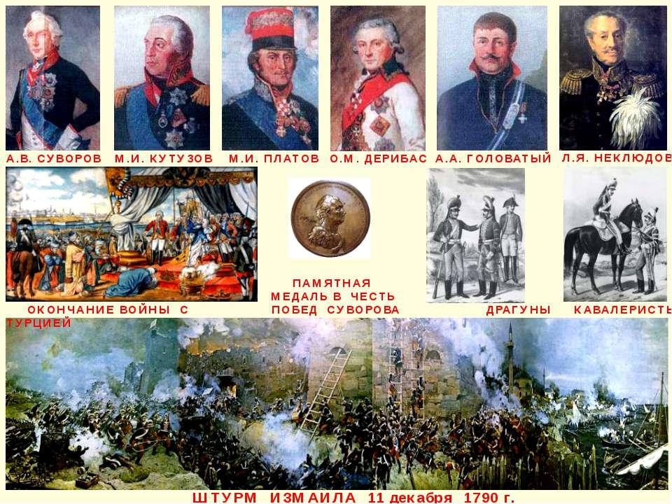 ШТУРМ ИЗМАИЛА 11 декабря 1790 г. А.В. СУВОРОВ М.И. КУТУЗОВ М.И. ПЛАТОВ А.А. Г...