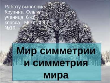 Работу выполнила: Крупина Ольга ученица 6 «б» класса МОУ СОШ №19 Мир симметри...