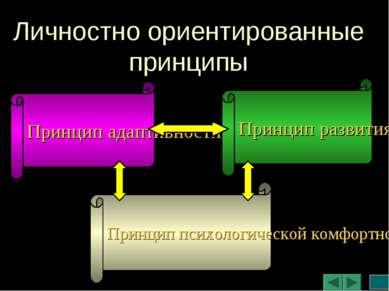 Личностно ориентированные принципы Принцип адаптивности Принцип развития Прин...