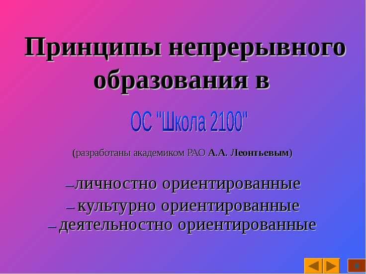 Принципы непрерывного образования в (разработаны академиком РАО А.А. Леонтьев...