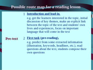Possible route map for a reading lesson