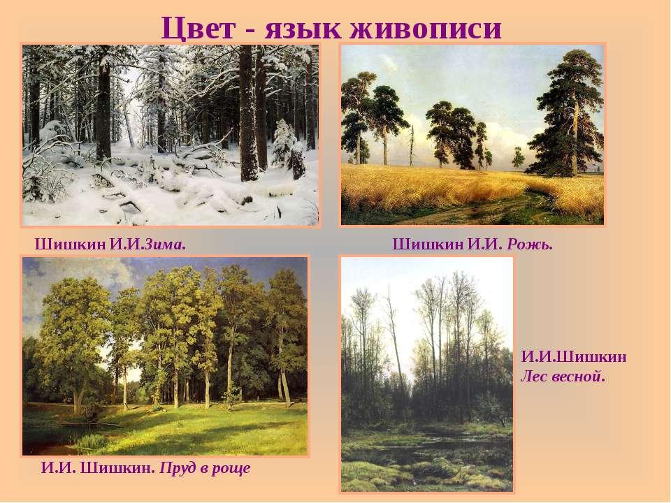 Цвет - язык живописи ШишкинИ.И.Зима. ШишкинИ.И. Рожь. И.И.Шишкин. Прудв...