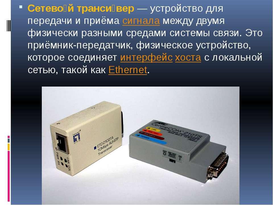 Сетево й транси вер— устройство для передачи и приёмасигналамежду двумя фи...
