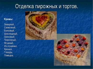 Отделка пирожных и тортов. Заварной, Сливочный, Белковый, Шоколадный, Ореховы...