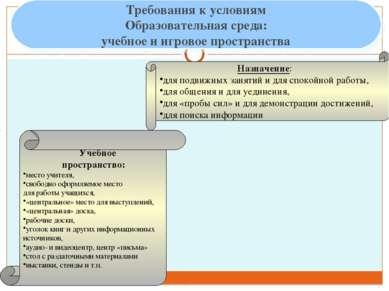 Требования к условиям Образовательная среда: учебное и игровое пространства Н...