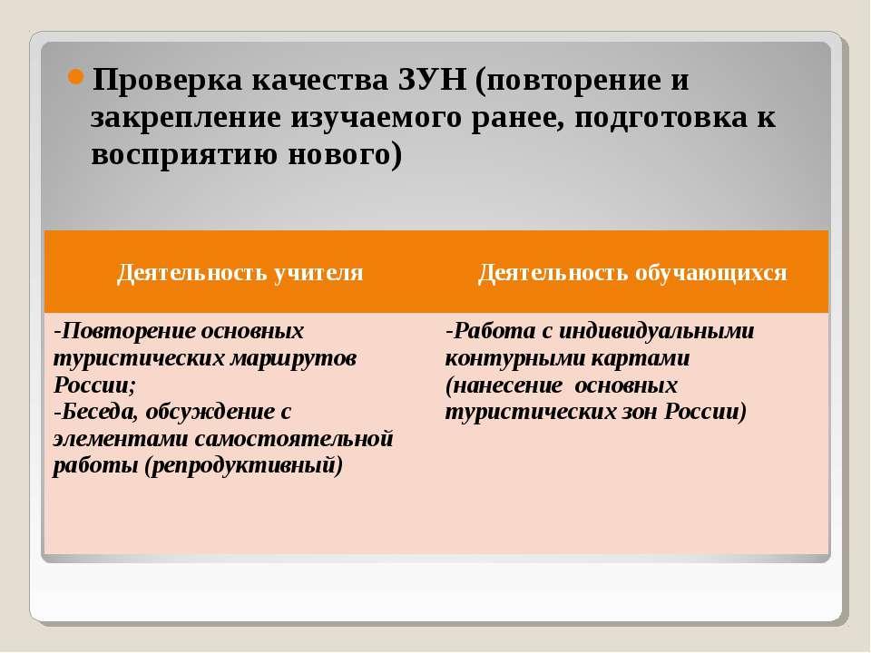 Проверка качества ЗУН (повторение и закрепление изучаемого ранее, подготовка ...