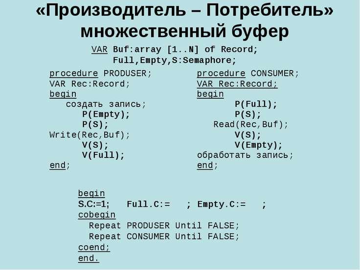 «Производитель – Потребитель» множественный буфер VAR Buf:array [1..N] of Rec...