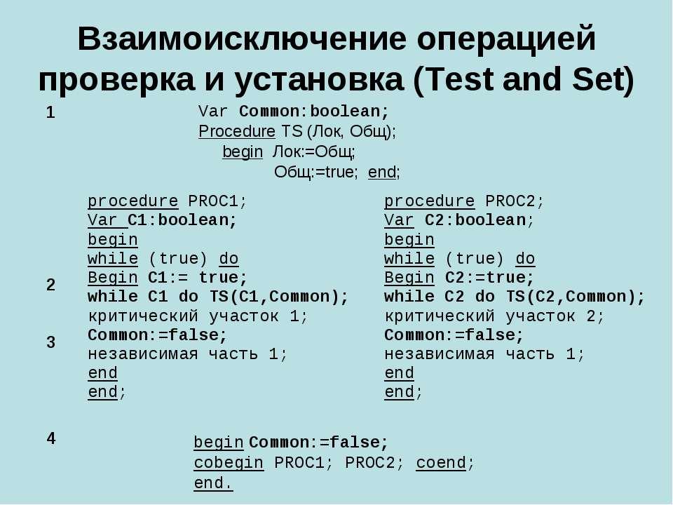 Взаимоисключение операцией проверка и установка (Test and Set) begin Common:=...