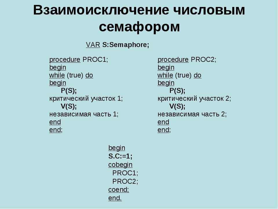 Взаимоисключение числовым семафором VAR S:Semaphore; begin S.C:=1; cobegin PR...