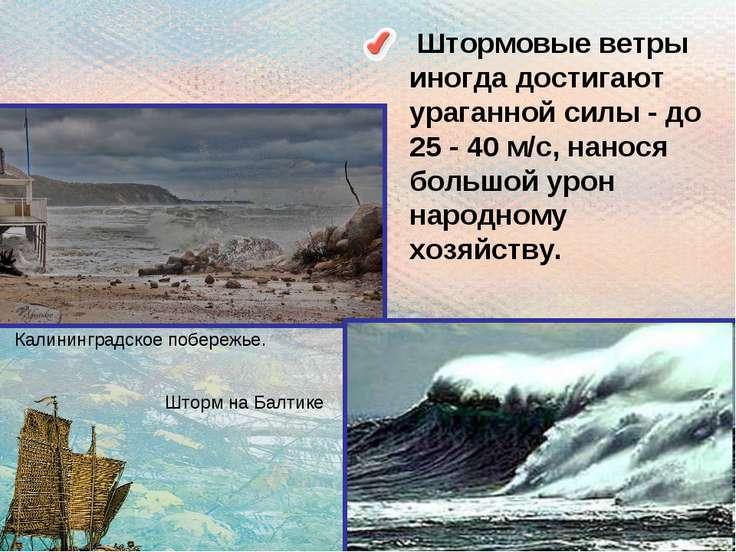 Штормовые ветры иногда достигают ураганной силы - до 25 - 40 м/с, нанося боль...