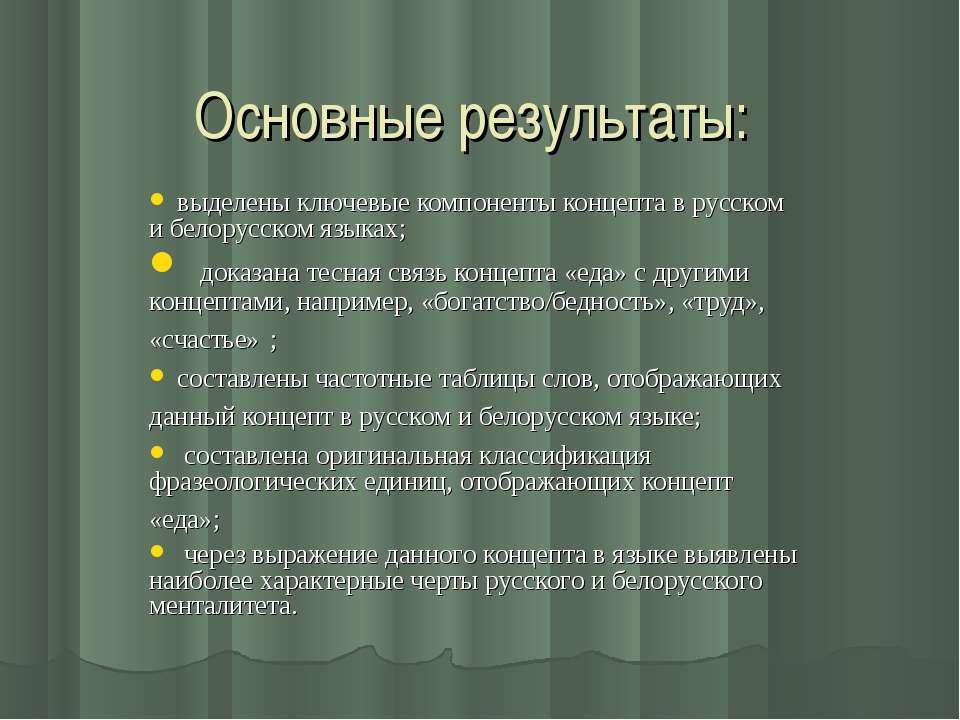 Основные результаты: выделены ключевые компоненты концепта в русском и белору...