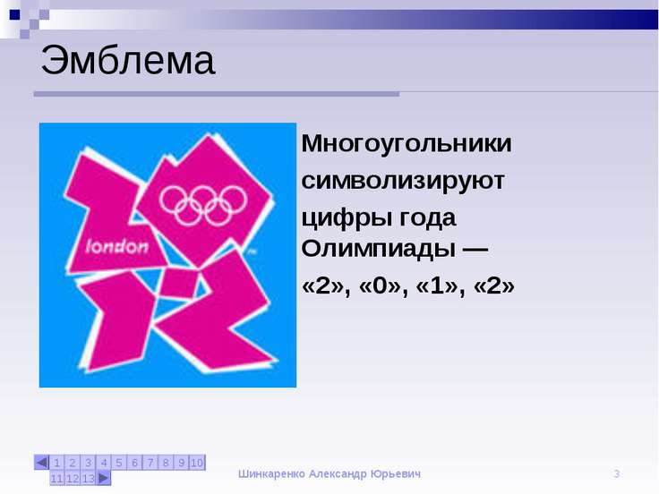 Шинкаренко Александр Юрьевич * Эмблема Многоугольники символизируют цифры год...