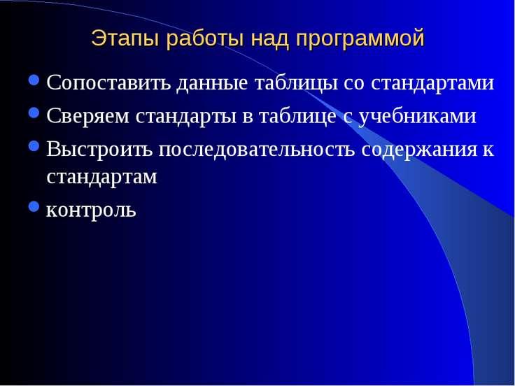 Этапы работы над программой Сопоставить данные таблицы со стандартами Сверяем...