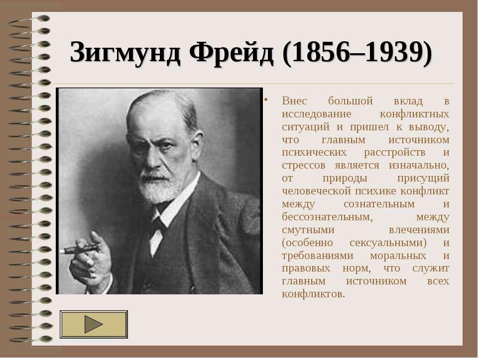 Зигмунд Фрейд (1856–1939) Внес большой вклад в исследование конфликтных ситуа...