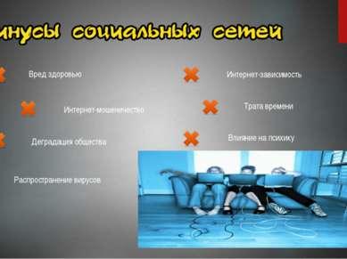 Вред здоровью Интернет-зависимость Интернет-мошеничество Деградация общества ...