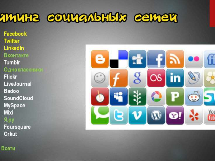 Facebook Twitter Linkedln Вконтакте Tumblr Одноклассники Flickr LiveJournal B...