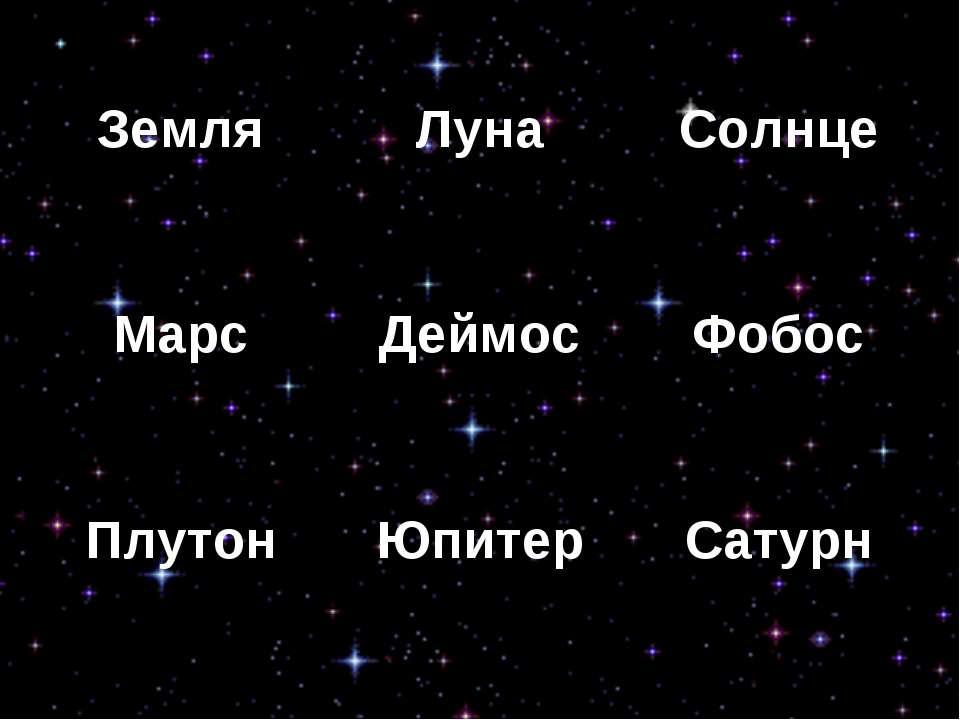 Земля Луна Солнце Марс Деймос Фобос Плутон Юпитер Сатурн