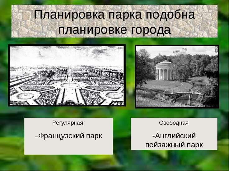 Планировка парка подобна планировке города Регулярная –Французский парк Свобо...