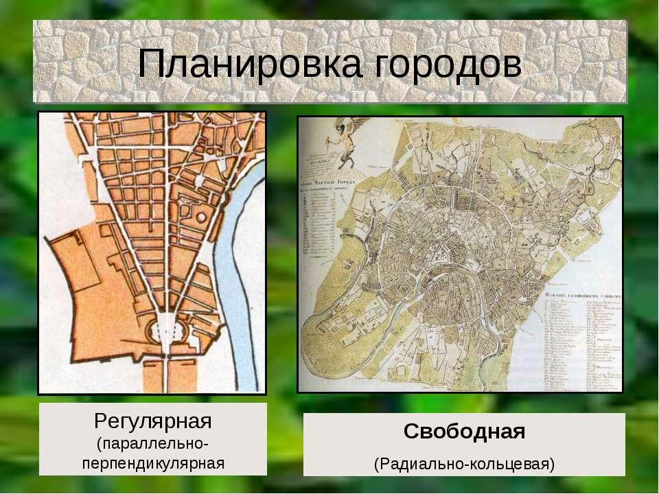 Планировка городов Регулярная (параллельно-перпендикулярная Свободная (Радиал...