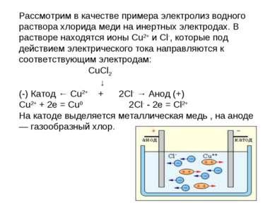 Рассмотрим в качестве примера электролиз водного раствора хлорида меди на ине...