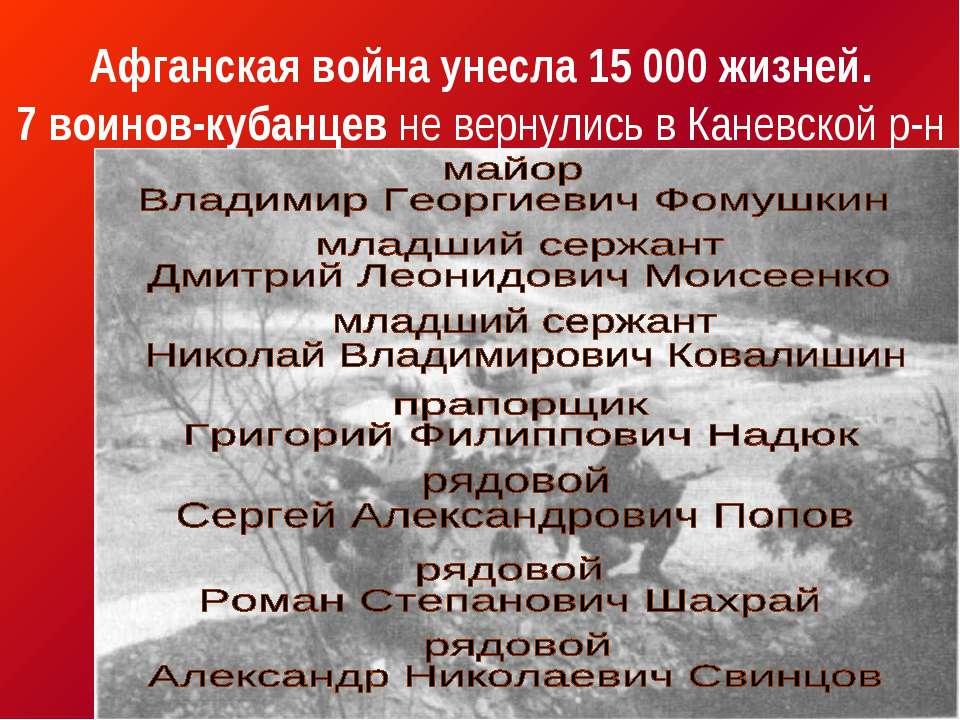Афганская война унесла 15 000 жизней. 7 воинов-кубанцев не вернулись в Каневс...