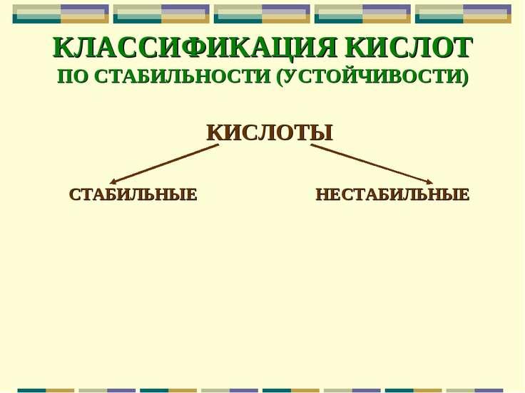 КЛАССИФИКАЦИЯ КИСЛОТ ПО СТАБИЛЬНОСТИ (УСТОЙЧИВОСТИ) КИСЛОТЫ СТАБИЛЬНЫЕ НЕСТАБ...
